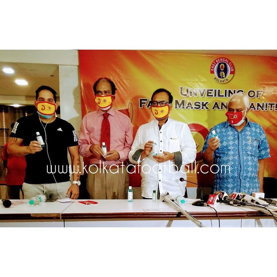 EAST BENGAL INTRODUCE MASK AND SANITIZER AS A PART OF SOCIAL ACTIVITY