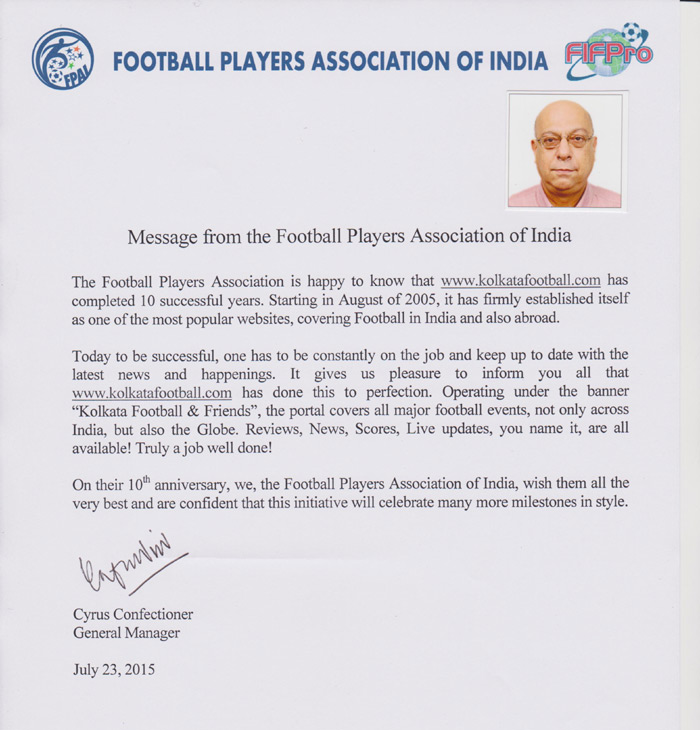 message of FOOTBALL PLAYERS ASSSOCIATIONOF INDIA for 10th year