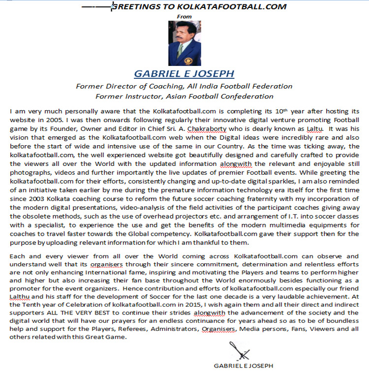 message of GABRIEL E JOSEPH for 10th year