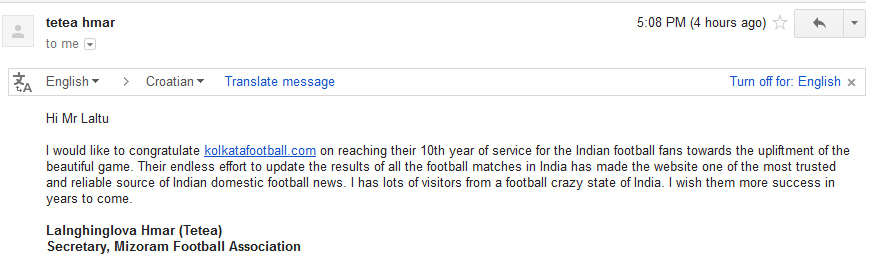 message of MIZORAM FOOTBALL ASSOCIATION for 10th year