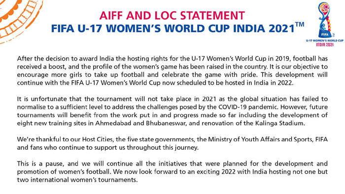 FIFA CANCELLED U17 WOMEN'S WORLD CUP IN 2020,INDIA TO HOST IN 2022